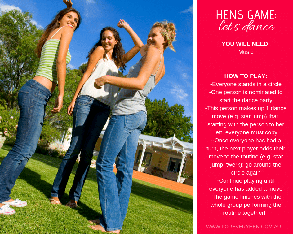 Hens Game: Let's Dance Instructions